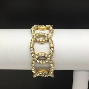 J CREW Gold Tone Clear Rhinestone Stretch Bracelet